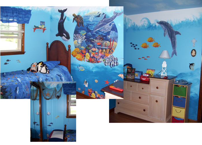 Images from a child's room using Under the Sea.