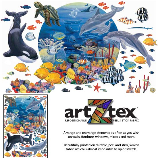 Under the Sea has over 40 extra fish in addition to the sea life in the main mural on repositionable artZtex fabric.