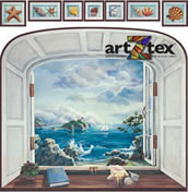 Bay Window Art with Sea Shells depicts crashing waves, sailboats on the ocean and lighthouse in the distance.